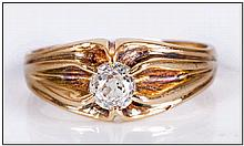 18ct Gold Set Single Stone Diamond Ring. The Cushion Cut Diamond of Excelle