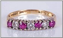 18ct Yellow Gold Set Ruby and Diamond Channel Set Ring, 3 Rubies and 3 Diam