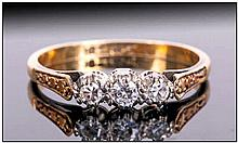 18ct Gold Diamond Ring Three Old Cut Diamonds, Claw Set, Stamped 18ct&PT;, R