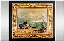 Walter Robay Jennings ARCA (1927-2005) Wild Ponies On A Windswept Hillside,