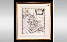 Robert Mordem County Map Of The Palatine Of Lancashire, period hand coloure