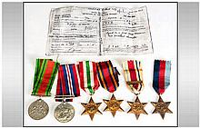 Group Of Six WW2 Medals, 1939-45 Star, Africa Star With North Africa Clasp,