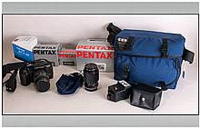 Pentax SFXN Super Focus Film Camera. Together with assorted zoom lenses, fl