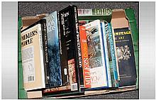Box Of Non Fiction Books Including Antique Reference Books, World Atlas, Di