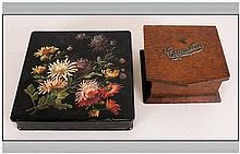 A Victorian Papier Mache Glove Box with floral decoration to the top. Toget