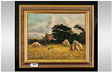 A Framed Oil on Canvas, stuck to board. Of a rural scene with chickens. Sig