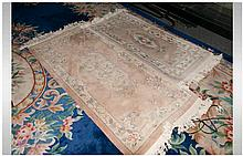 Two Embossed Chinese Floral Carpets of Small Sizes. Beige Ground Runner Siz