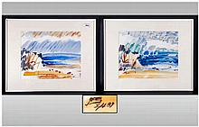 Pair of Modern German Abstract Watercolours, Depicting Sea Landscapes. Mono