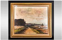 Oil Painting on Board Signed E Gentry Titled 'From Buttermans Bay'. Sold by