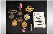 Mixed Lot Of Military Related Items Comprising WW2 Medal, Boar War Part Bel
