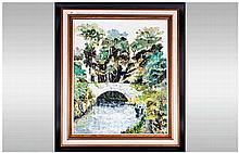 Contemporary 'Canal Boat Scene' Framed Oil on Canvas in the Impressionist S