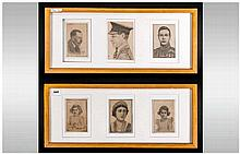 Two Framed Pencil Drawings of British Royalty, Edward VII, George V, Queen