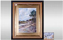 AE Bennett Framed Watercolour River Landscape With Cottages And Bridge, sig