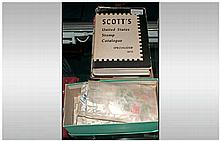 Shoe Box Full Of USA Stamps Off Paper with specialised Scott & Airmail cata