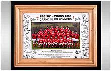 RBS Six Nations 2008, Grand Slam Winners Wales, Rugby Team Signed Photo. Al