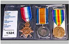 World War 1 Trio of Military Medals Awarded to - 19513 PTE. J. Wilson. L.N