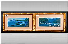 A Pair of Oil on Boards, signed by a Japanese Artist. Depicting river scene