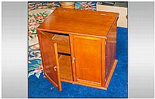 Mahogany Double Door Table Cabinet with a hinged lift up top with single in