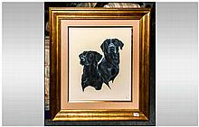 John Clarke British Born Warrington 1968, Large Mixed Media Painting Of Two