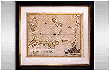 Rare Coastal Chart Map Of Lancashire, Showing The Isle Of Mann And Angelsey