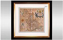 Christopher Saxon Map 'Lancashire Brigantum' Hand Coloured & Period From Hi