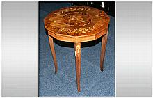 Italian Walnut Inlaid Shaped Top Centre Table with floral top profusely inl