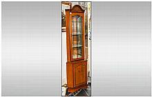 Modern Walnut Effect Corner Unit Glazed Front Mirrored Back With Four Shelv