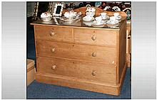 Antique Four Drawer Waxed PIne Chest with Bespoke removable glass top.
