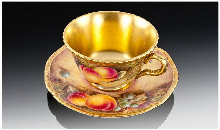 Royal Worcester Handpainted Cup & Saucer. Peaches,