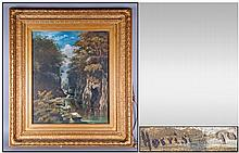 Late 19th Century English Painting Waterfall In A