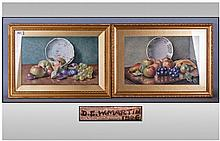 D.E Martin Pair Of Watercolours, still life fruit