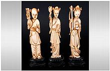 Chinese 19th Century Ivory Figures ( 3 ) In Total.