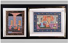Two Indian Paintings On Cloth In The Mogul Style,