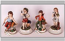 Capodimonte - Fine Early Figures ( 4 ) In Total. A