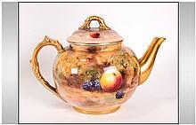 Royal Worcester Handpainted Tea Pot 'Fallen Fruits