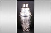 Art deco Silvered Metal Cocktail Shaker with a pla