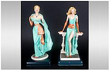 Pair Of Italian Decorative Resin Figures Of Elegan