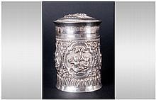 Oriental Early 20th Century Silver Embossed Lidded