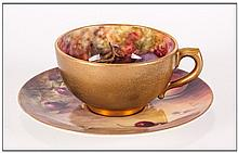 Royal Worcester Hand Painted Matched Miniature Cup