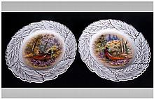 Pair of Hand Painted Cabinet Plates, signed P.Gosl