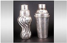 Two Art Deco Silvered Metal Cocktail Shakers, one