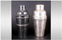 Art Deco Silvered Metal Cocktail Shakers Of Cylind