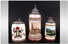 Three Antique German Steins With Pewter Lids one d