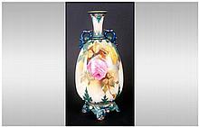 Royal Worcester Handpainted Two Handle Vase 'Roses