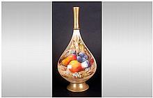 Royal Worcester Handpainted Vase 'Fallen Fruits' S