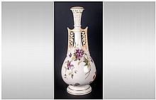 Royal Worcester Handpainted & Tall Two Handle Vase