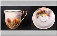 Royal Worcester Hand Painted Miniature Cup and Sau