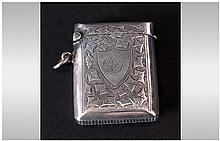 Edward VII Silver Vesta Case With Chased Decoratio