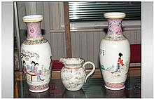 20thC Vases each depicting female figures at a tab