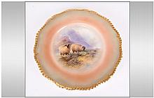 Royal Worcester Hand Painted Cabinet Plate date 19